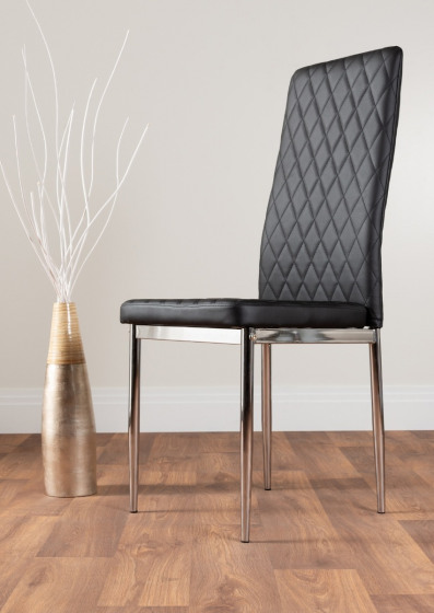 6x Milan Black Chrome Hatched Faux Leather Dining Chairs