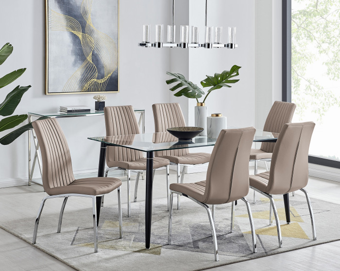 Pisa Black Leg Glass Dining Table and 6 Isco Chairs
