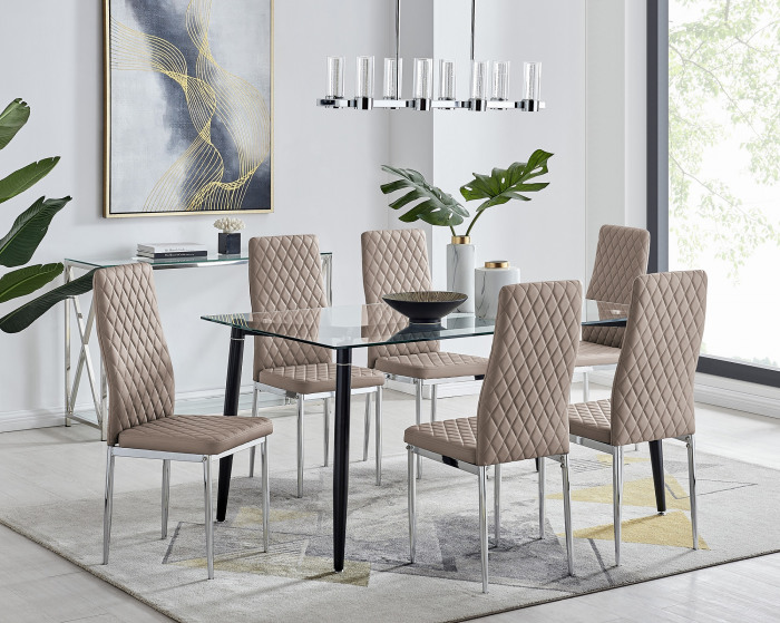 Pisa Black Leg Glass Dining Table and 6 Milan Chairs