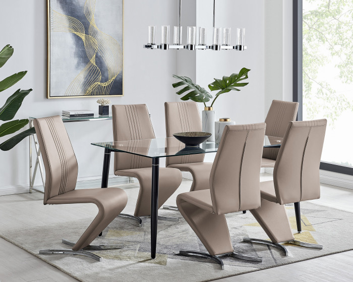 Pisa Black Leg Glass Dining Table and 6 Willow Chairs