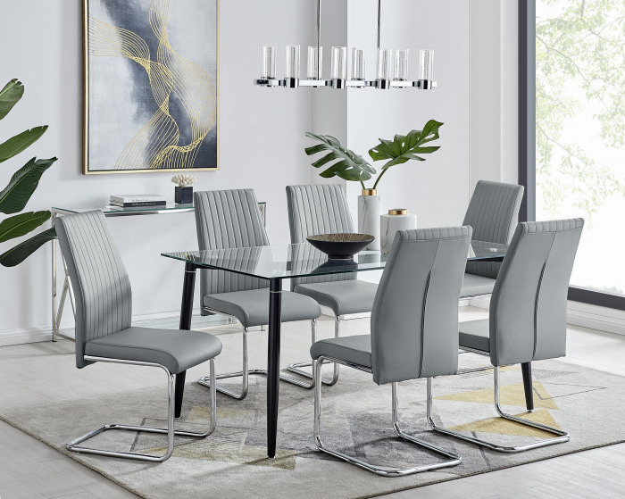 Pisa Black Leg Glass Dining Table and 6 Lorenzo Chairs