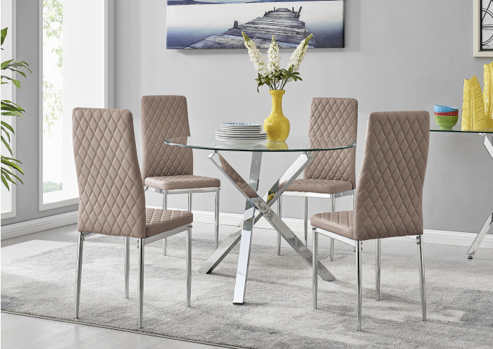 Selina Chrome Round Square Leg Glass Dining Table And 4 Milan Chairs Set