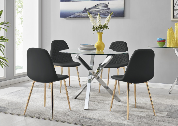 Selina Chrome Round Square Leg Glass Dining Table And 4 Corona Gold Chairs Set
