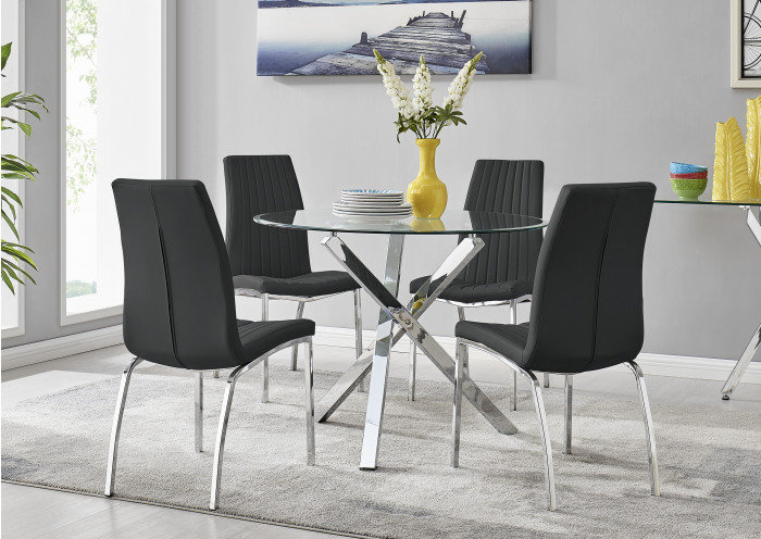 Selina Chrome Round Square Leg Glass Dining Table And 4 Isco Chairs Set