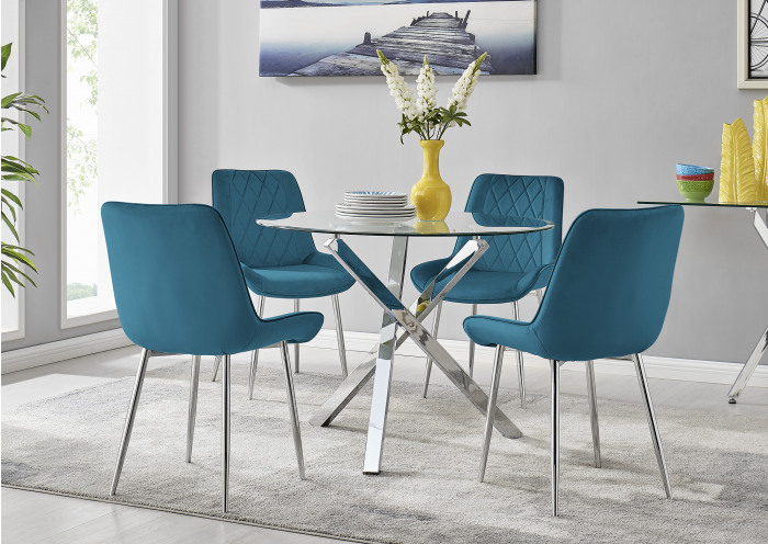 Selina Square Leg Round Dining Table And 4 Pesaro Silver Leg Chairs