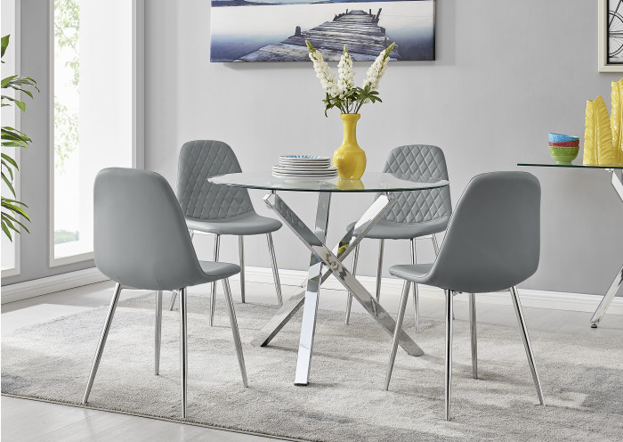 Selina Chrome Round Square Leg Glass Dining Table And 4 Corona Silver Chairs Set
