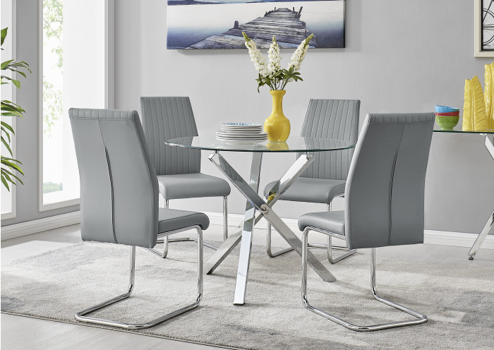 Selina Chrome Round Square Leg Glass Dining Table And 4 Lorenzo Chairs Set