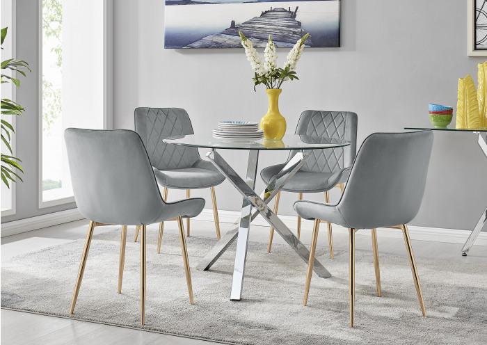 Selina Square Leg Round Dining Table And 4 Pesaro Gold Leg Chairs