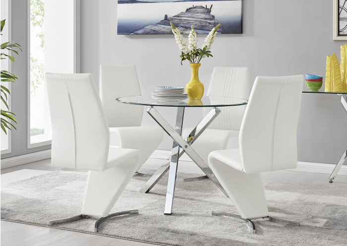 Selina Chrome Round Square Leg Glass Dining Table And 4 Willow Chairs Set