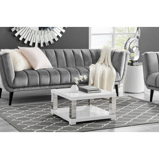 Anzio Square High Gloss and Chrome Small Coffee Table