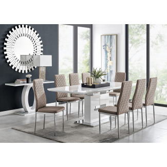 Arezzo Large Extending Dining Table and 8 Milan Chairs