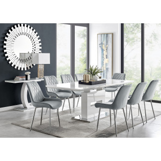 Arezzo Large Extending Dining Table and 8 Pesaro Silver Leg Chairs