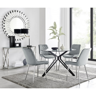 Cascina Dining Table and 4 Pesaro Silver Leg Chairs