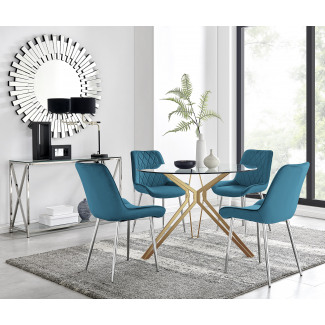 Empoli Dining Table and 4 Pesaro Silver Leg Chairs