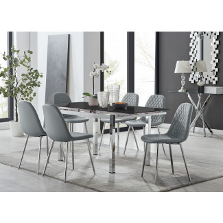 Enna Black Glass Extending Dining Table and 4/6 Corona Silver Leg Chairs