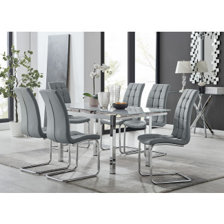 Enna White Glass Extending Dining Table and 4/6 Murano Chairs