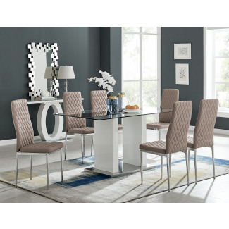 Florence White High Gloss And Glass Dining Table With 6 Milan Chairs Set