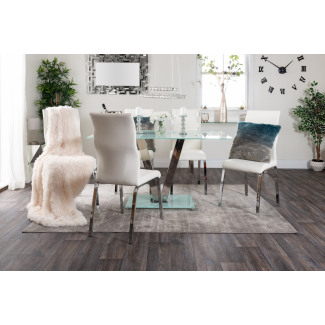 Florini White Glass And Metal V Dining Table And 6 Andora Chairs Set