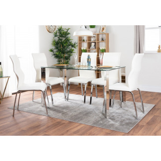 Lucia 6 Glass Chrome Table And 6 Luxury Andora Chairs Set