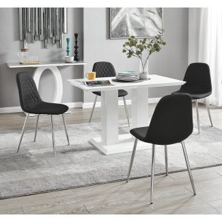 Imperia 4 Modern White High Gloss Dining Table And 4 Corona Silver Chairs Set