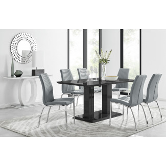 Imperia 6 Black Dining Table and 6 Isco Chairs