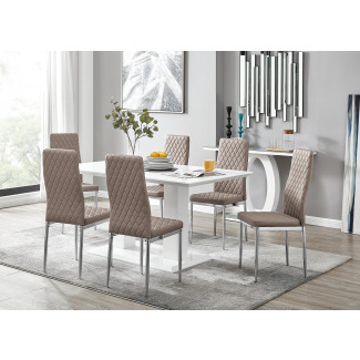 Imperia White High Gloss Dining Table And 6 Milan Chairs Set
