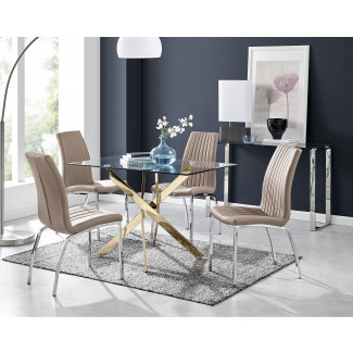 Leonardo 4 Gold Dining Table and 4 Isco Chairs