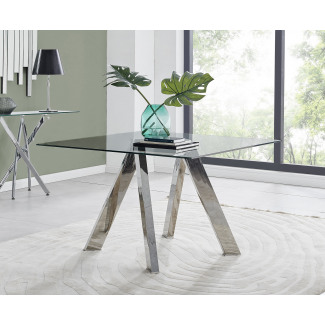 Lugano Square Glass and Chrome Dining Table