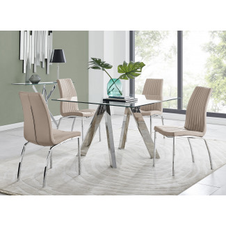 Lugano Square Dining Table & 4 Isco Chairs