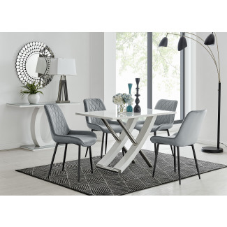 Mayfair 4 Dining Table and 4 Pesaro Black Leg Chairs