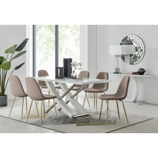 Mayfair 6 Dining Table and 6 Corona Gold Leg Chairs