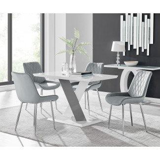 Monza 4 White/Grey Dining Table & 4 Pesaro Silver Leg Chairs