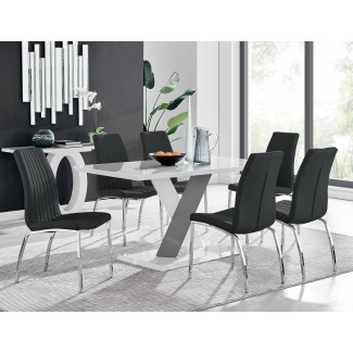 Monza 6 White/Grey Dining Table & 6 Isco Chairs