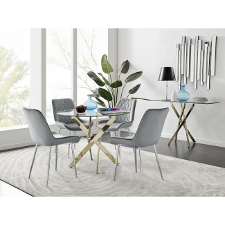Novara 100cm Gold Round Dining Table and 4 Pesaro Silver Leg Chairs
