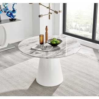 Palma White Marble Effect Round Dining Table