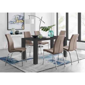 Pivero 6 Black Dining Table and 6 Isco Chairs