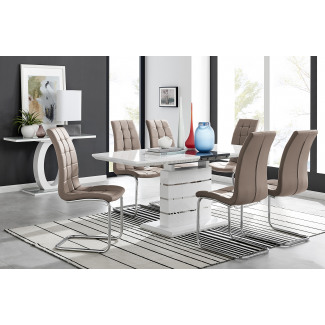 Renato High Gloss Extending Dining Table and  6 Murano Chairs