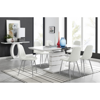 Renato High Gloss Extending Dining Table and  6 Corona Silver Leg Chairs