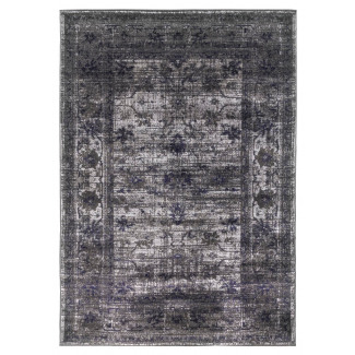 Vintage Timeless Shabby-Chic Floral Distressed Rug in Grey - 120x170cm