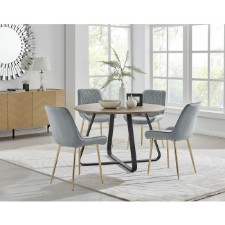 Santorini Brown Round Dining Table And 4/6 Pesaro Gold Leg Chairs
