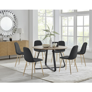 Santorini Brown Round Dining Table And 6 Corona Gold Leg Chairs
