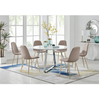 Santorini White Round Dining Table And 6 Corona Gold Leg Chairs