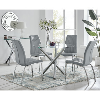 Selina Round Dining Table and 4 Isco Chairs