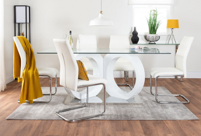Modica Large Halo High Gloss And Glass Dining Table And 6 Lorenzo Chairs Set