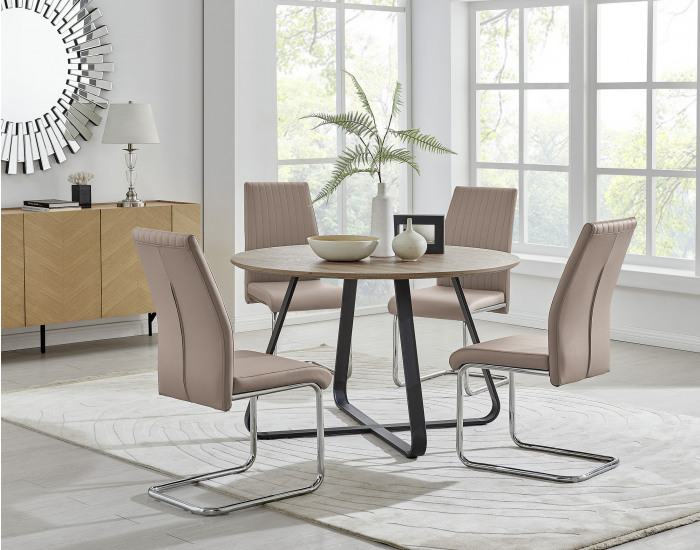 Santorini Brown Wood Contemporary Round Dining Table And 4 Lorenzo Chairs Set