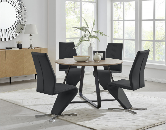Santorini Brown Wood Contemporary Round Dining Table And 4 Willow Chairs Set