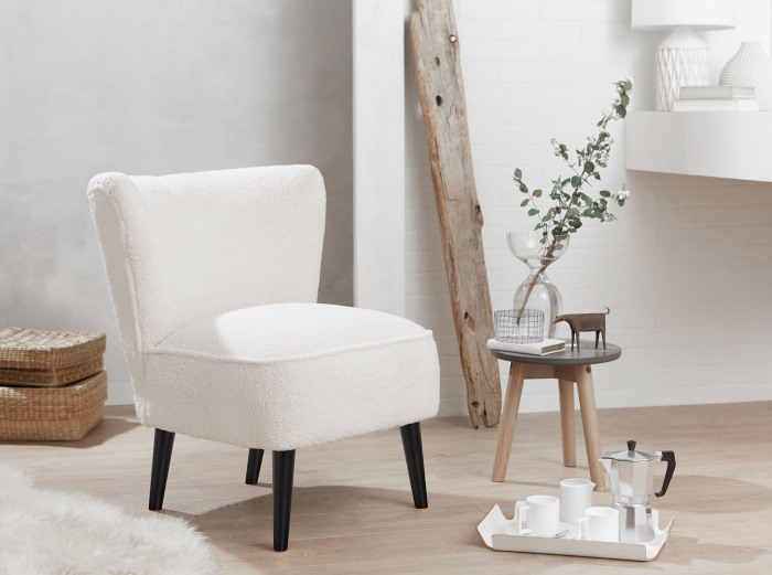 Malmesbury Boucle Accent Woolly chair with Black Legs