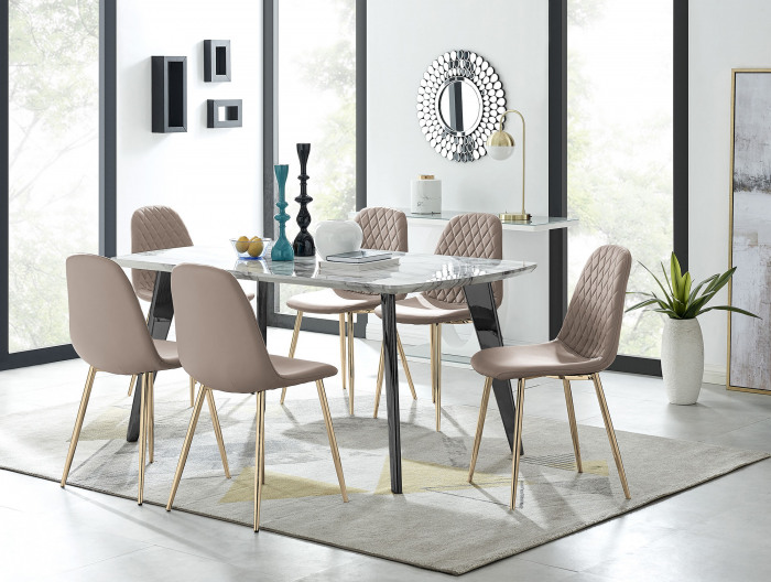 Andria Black Leg Marble Effect Dining Table and  6 Corona Gold Leg Chairs