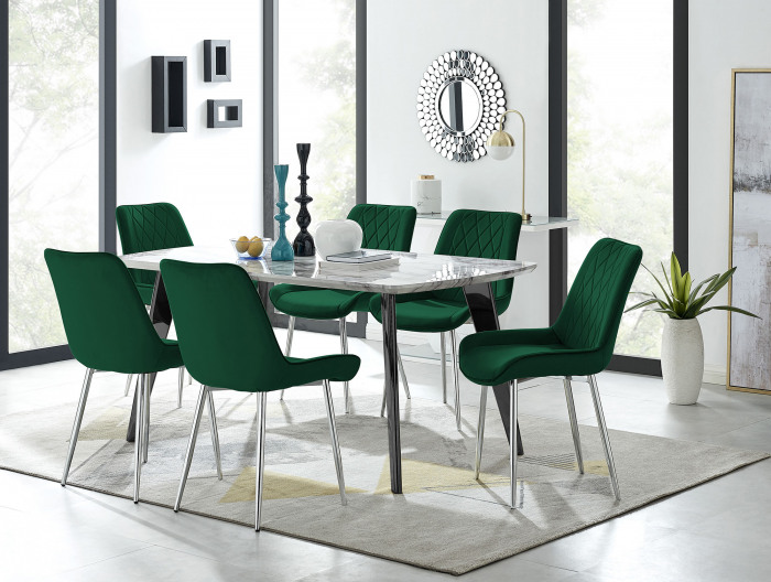 Andria Black Leg Marble Effect Dining Table and  6 Pesaro Silver Leg Chairs