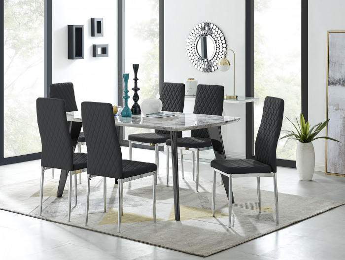 Andria Black Leg Marble Effect Dining Table and  6 Milan Chairs